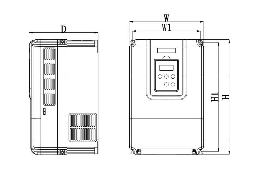 大功率伺服驱动器-伊莱斯大功率伺服驱动器ES2-033T外形图尺寸