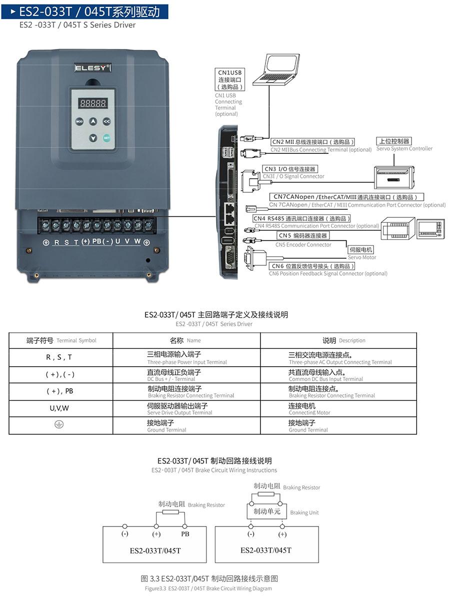 大功率伺服驱动器——伊莱斯大功率伺服驱动器ES2-033T接口图